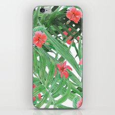 Ferns and red flowers iPhone & iPod Skin
