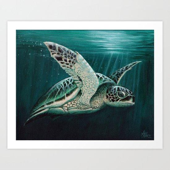 """Moonlit"" by Amber Marine - Sea Turtle, Acrylic Painting, (Copyright 2015) Art Print"