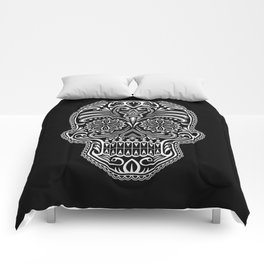 Intricate White and Black Day of the Dead Sugar Skull Comforters
