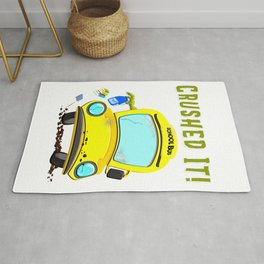 Funny Monster Bus Schools Out Crushed It Gift Rug
