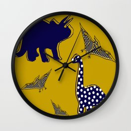Dinosaur mustard Wall Clock