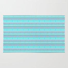 Aqua Blue and Gray Aztec Tribal Pattern Rug