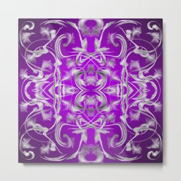 dark purple and silver Digital pattern with circles and fractals artfully colored design for house Metal Print