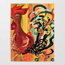 Curly Rooster Poster