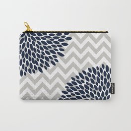 Chevron Floral Modern Navy and Grey Carry-All Pouch