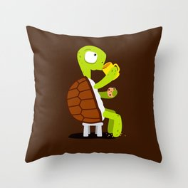 Turtle drinking tea with cookies. Throw Pillow