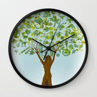 tree of life Wall Clocks featuring Life tree by Michelle Behar
