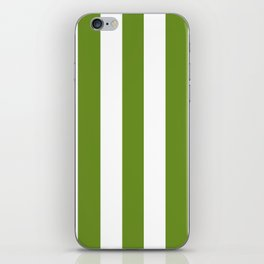 Olive Drab (#3) - solid color - white vertical lines pattern iPhone Skin