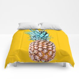 Pineapple Ananas On A Yellow Mellow Background #decor #society6 #buyart Comforters