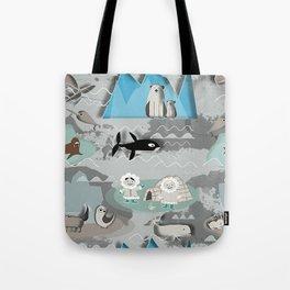 Arctic animals grey Tote Bag