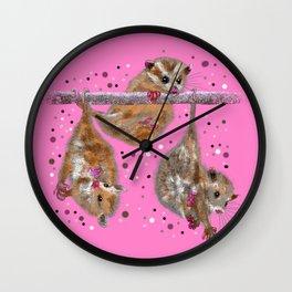 Possum trio on a branch - Pink Wall Clock