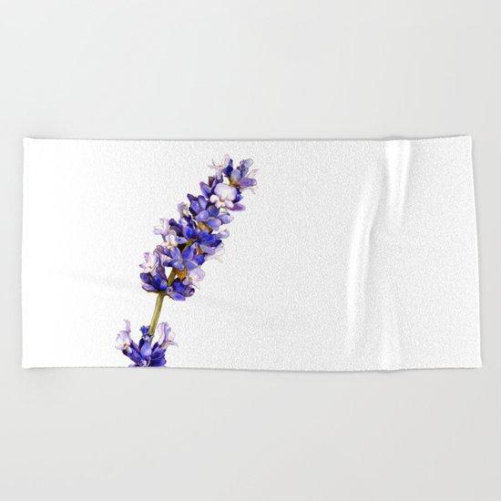 Mediterranean Lavender on White Beach Towel