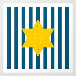 blue strips & star Art Print