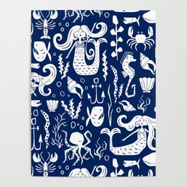 Under The Sea Navy Blue Poster