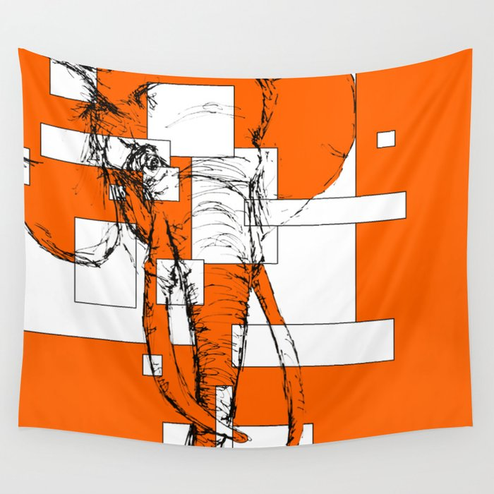 Orange is the New Elephant Wall Tapestry