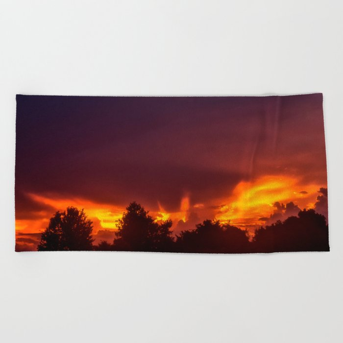 Sunset After The Storm Beach Towel
