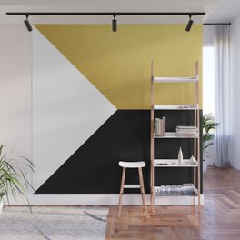 Gold White Black Abstract Geometric Art Wall Mural