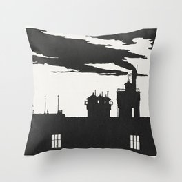 Silhouette Oostergasfabriek (Silhouet Oostergasfabriek) (1915) print in high resolution by Samuel Je Throw Pillow