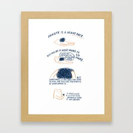 """Anxiety Is A Heavy Rock"" Framed Art Print"