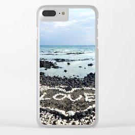"Hawaii Black Sand Beach & Coral ""Love"" Heart Photo Clear iPhone Case"