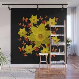 Decorative Black Design Butterflies Yellow Daffodils Wall Mural