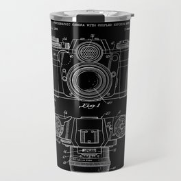 Vintage Camera Patent Black Blueprint Travel Mug