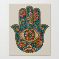 hamsa Canvas Prints featuring Hamsa by Valentina Harper