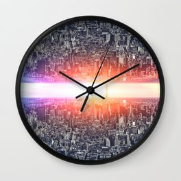 Upside down New York city, Sci-fi Concept city Wall Clock
