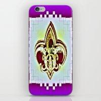 fleur de lis iPhone & iPod Skins featuring Fleur De Lis Purple  by Tina Vaughn
