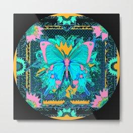 Blue Satin Pink Butterfly Black Designs Metal Print