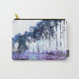Monet : Poplars Lavender Periwinkle Deep Blue Carry-All Pouch