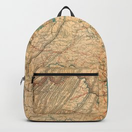 Vintage Map of Virginia and The Chesapeake Bay (1862) Backpack