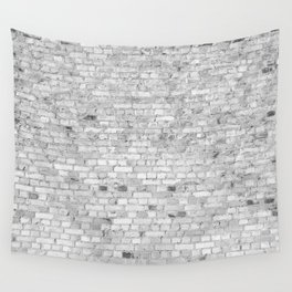 White Washed Brick Wall - Light White and Grey Wash Stone Brick Wall Tapestry