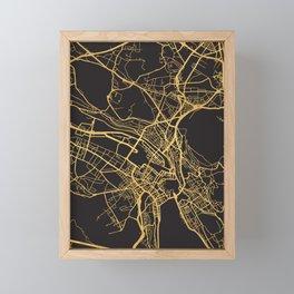ZURICH SWITZERLAND GOLD ON BLACK CITY MAP Framed Mini Art Print