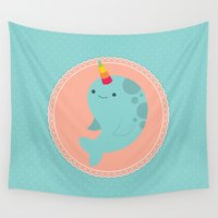 narwhal Wall Tapestries featuring Narwhal by Luli Bunny