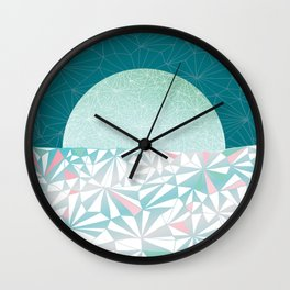 Geometric Sunrise - Teal and Pink Wall Clock