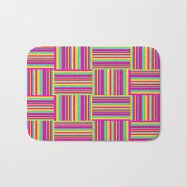 Neon Multicolored Weaved Squares Bath Mat