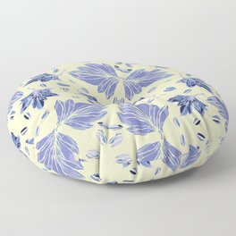 Autumn leaves in light yellow and blue Floor Pillow