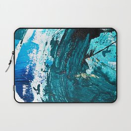 Crescendo: A vibrant abstract painting in blues and white by Alyssa Hamilton Art Laptop Sleeve
