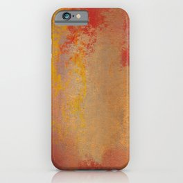 Grunge abstract red orange pastel drawing iPhone Case
