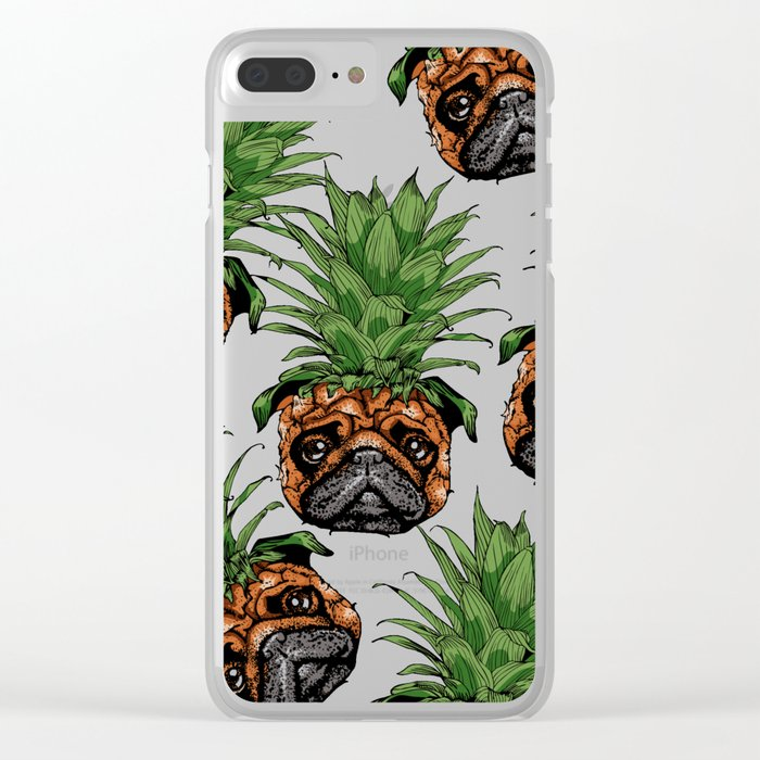 9cd6b7fa Pineapple Pug Clear iPhone Case by huebucket | Society6