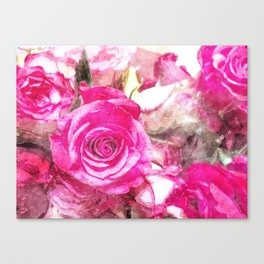 Bunch of Pink roses (watercolour) Canvas Print