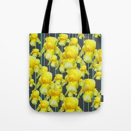 CHARCOAL GREY YELLOW IRIS GARDEN ABSTRACT Tote Bag