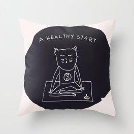 Relax Cat, A Healthy Start, Meditation Throw Pillow