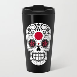 Sugar Skull with Roses and Flag of Japan Travel Mug