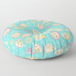 Hedgehog Paisley_Colors and Light blue Floor Pillow