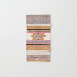 Rustic Tribal Pattern in Raw Sienna, Strawberry and Ash Hand & Bath Towel