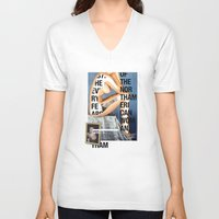 american V-neck T-shirts featuring The North American Woman by Matthew Billington