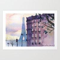paris Art Prints featuring Paris by Emma Reznikova