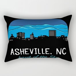 Asheville Cityscape - Land of the Sky - AVL 7 Blue Rectangular Pillow